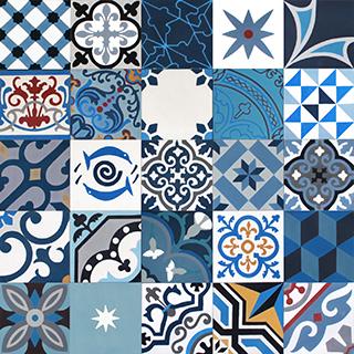 cementova dlazba modry patchwork